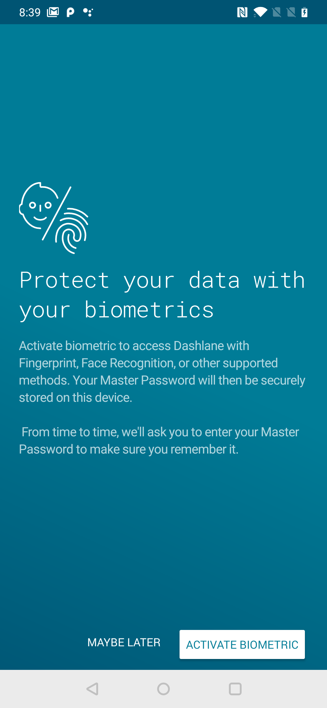 How to set biometric authentication or PIN code to unlock Dashlane