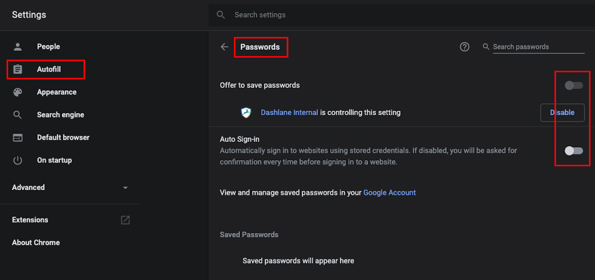 How to turn off the built-in password manager in your