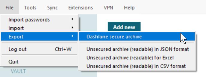 exporter à partir de Windows