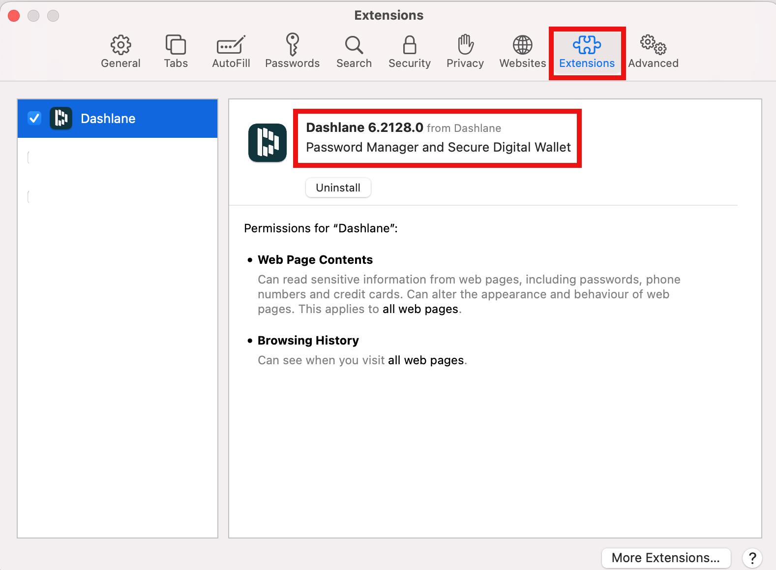 Alternativer Ansatz zur Überprüfung der Dashlane-Build-Nummer in der Safari-App